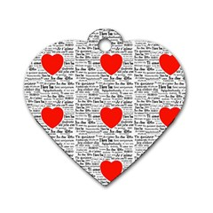 I Love You Dog Tag Heart (Two Sides)