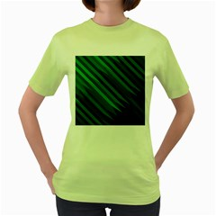 Abstract Blue Stripe Pattern Background Women s Green T Shirt