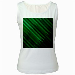 Abstract Blue Stripe Pattern Background Women s White Tank Top
