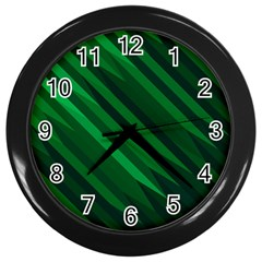 Abstract Blue Stripe Pattern Background Wall Clocks (Black)
