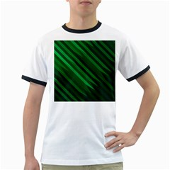 Abstract Blue Stripe Pattern Background Ringer T-Shirts