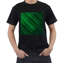 Abstract Blue Stripe Pattern Background Men s T-Shirt (Black) (Two Sided)