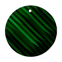 Abstract Blue Stripe Pattern Background Round Ornament (Two Sides)