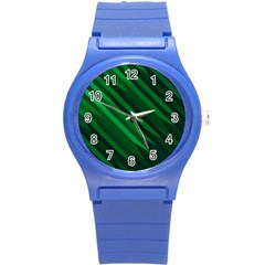 Abstract Blue Stripe Pattern Background Round Plastic Sport Watch (S)