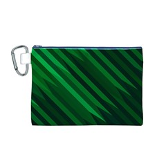 Abstract Blue Stripe Pattern Background Canvas Cosmetic Bag (m)