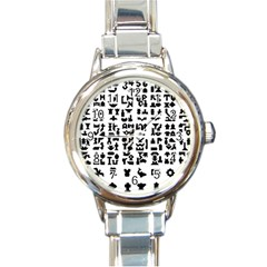 Anchor Puzzle Booklet Pages All Black Round Italian Charm Watch