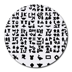 Anchor Puzzle Booklet Pages All Black Round Mousepads