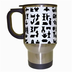 Anchor Puzzle Booklet Pages All Black Travel Mugs (white)