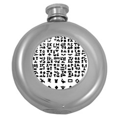 Anchor Puzzle Booklet Pages All Black Round Hip Flask (5 oz)