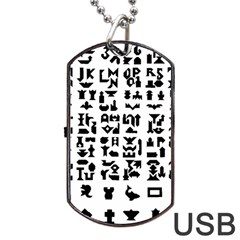 Anchor Puzzle Booklet Pages All Black Dog Tag USB Flash (One Side)
