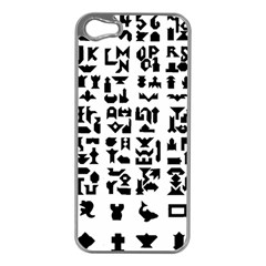 Anchor Puzzle Booklet Pages All Black Apple iPhone 5 Case (Silver)