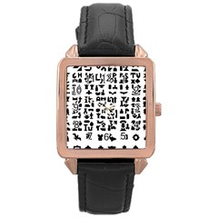 Anchor Puzzle Booklet Pages All Black Rose Gold Leather Watch