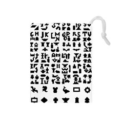 Anchor Puzzle Booklet Pages All Black Drawstring Pouches (medium)