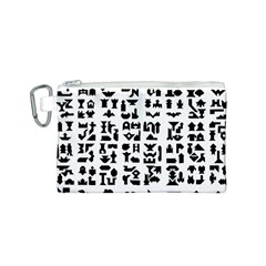 Anchor Puzzle Booklet Pages All Black Canvas Cosmetic Bag (S)