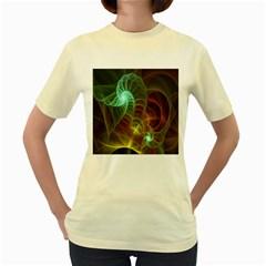 Art Shell Spirals Texture Women s Yellow T-Shirt