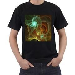 Art Shell Spirals Texture Men s T-Shirt (Black) (Two Sided)