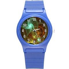 Art Shell Spirals Texture Round Plastic Sport Watch (S)
