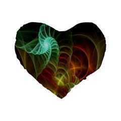 Art Shell Spirals Texture Standard 16  Premium Heart Shape Cushions