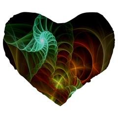 Art Shell Spirals Texture Large 19  Premium Heart Shape Cushions