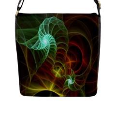 Art Shell Spirals Texture Flap Messenger Bag (L)