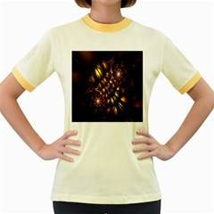 Art Design Image Oily Spirals Texture Women s Fitted Ringer T Shirts