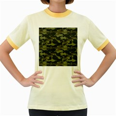 Camo Pattern Women s Fitted Ringer T-Shirts