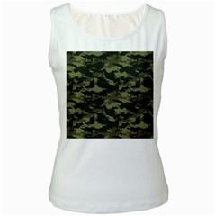 Camo Pattern Women s White Tank Top