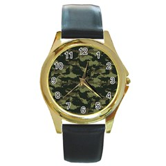 Camo Pattern Round Gold Metal Watch