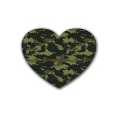 Camo Pattern Rubber Coaster (heart)