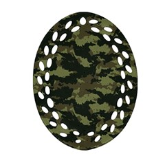 Camo Pattern Oval Filigree Ornament (Two Sides)