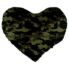 Camo Pattern Large 19  Premium Heart Shape Cushions