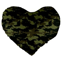 Camo Pattern Large 19  Premium Flano Heart Shape Cushions