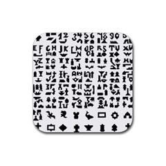 Anchor Puzzle Booklet Pages All Black Rubber Square Coaster (4 Pack)