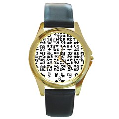 Anchor Puzzle Booklet Pages All Black Round Gold Metal Watch