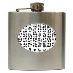 Anchor Puzzle Booklet Pages All Black Hip Flask (6 oz)