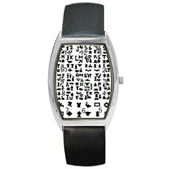 Anchor Puzzle Booklet Pages All Black Barrel Style Metal Watch