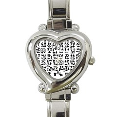 Anchor Puzzle Booklet Pages All Black Heart Italian Charm Watch