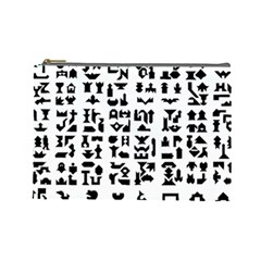 Anchor Puzzle Booklet Pages All Black Cosmetic Bag (Large)