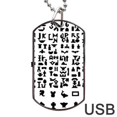 Anchor Puzzle Booklet Pages All Black Dog Tag USB Flash (Two Sides)