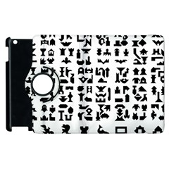 Anchor Puzzle Booklet Pages All Black Apple iPad 2 Flip 360 Case