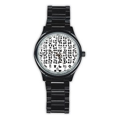 Anchor Puzzle Booklet Pages All Black Stainless Steel Round Watch