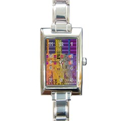 Circuit Board Pattern Lynnfield Die Rectangle Italian Charm Watch