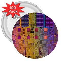 Circuit Board Pattern Lynnfield Die 3  Buttons (100 pack)