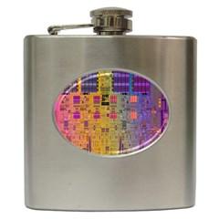 Circuit Board Pattern Lynnfield Die Hip Flask (6 oz)