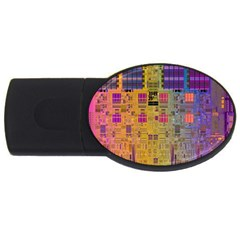Circuit Board Pattern Lynnfield Die USB Flash Drive Oval (2 GB)