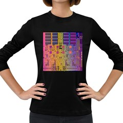 Circuit Board Pattern Lynnfield Die Women s Long Sleeve Dark T-Shirts