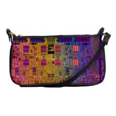 Circuit Board Pattern Lynnfield Die Shoulder Clutch Bags