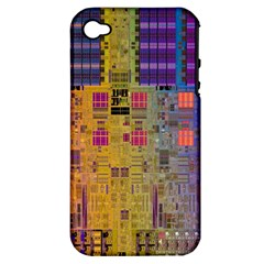 Circuit Board Pattern Lynnfield Die Apple iPhone 4/4S Hardshell Case (PC+Silicone)