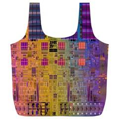 Circuit Board Pattern Lynnfield Die Full Print Recycle Bags (L)