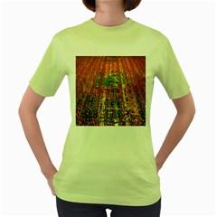 Circuit Board Pattern Women s Green T Shirt